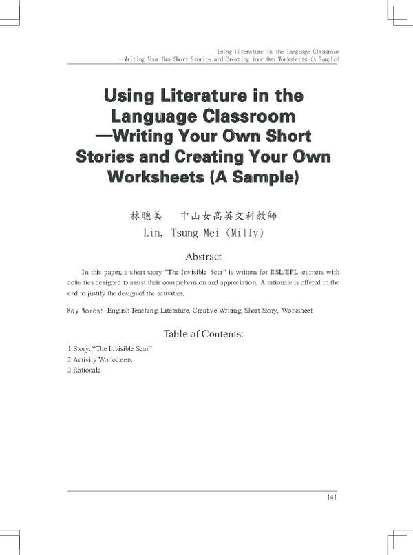 PDF) Using Literature in the Language Classroom ─Writing Your Own