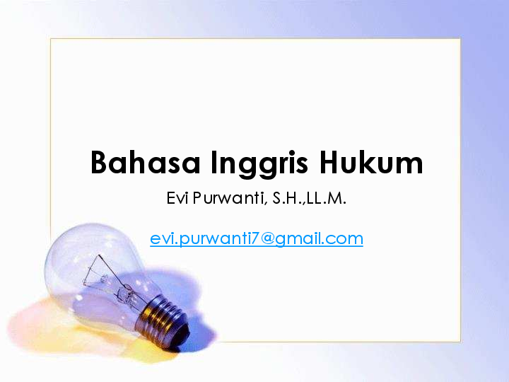 Pdf Pertemuan 1 Bahasa Inggris Hukum Evi Purwanti Academia Edu