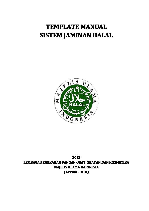 (PDF) TEMPLATE MANUAL SISTEM JAMINAN HALAL 2012 LEMBAGA
