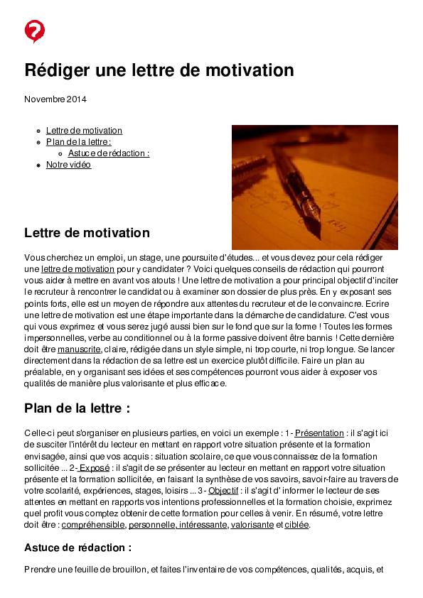 Pdf Rédiger Une Lettre De Motivation Lettre De Motivation