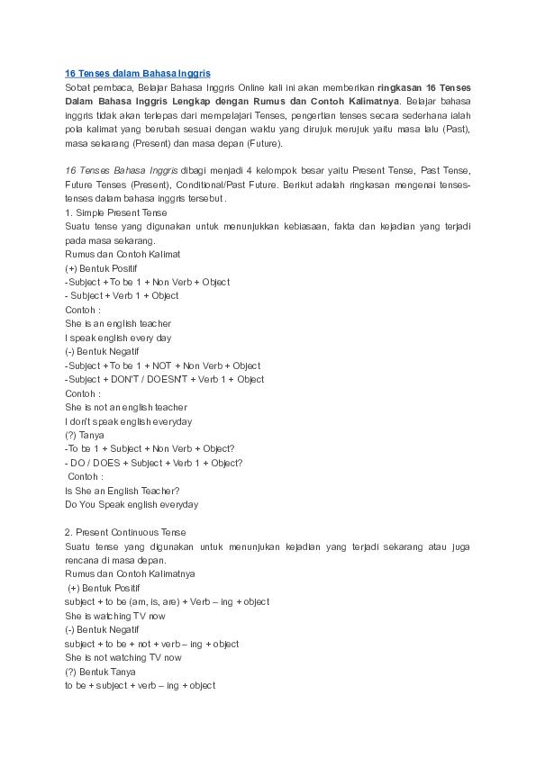 Doc 16 Tenses Dalam Bahasa Inggris Arni Anti Academia Edu