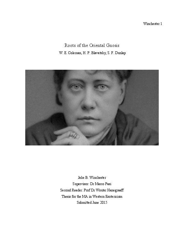 PDF) Roots of the Oriental Gnosis: H P  Blavatsky, W E