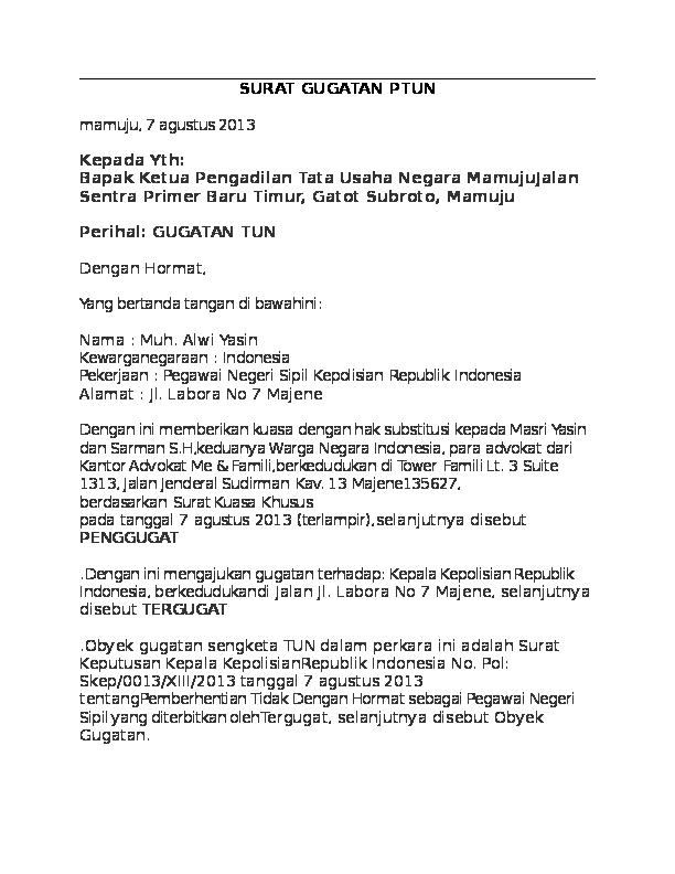 Doc Surat Gugatan Ptun Tata Usaha Academiaedu