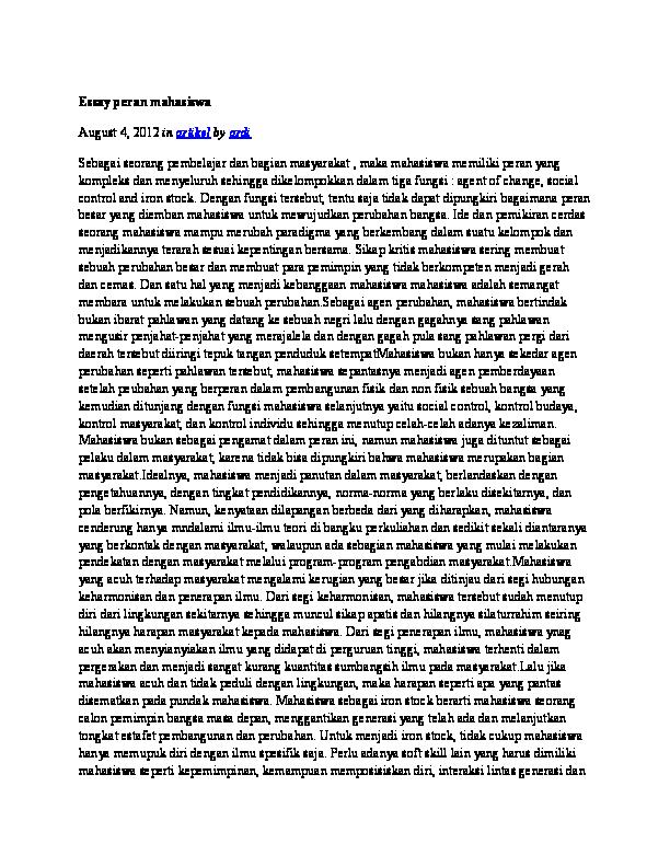 contoh essay tentang pergerakan mahasiswa