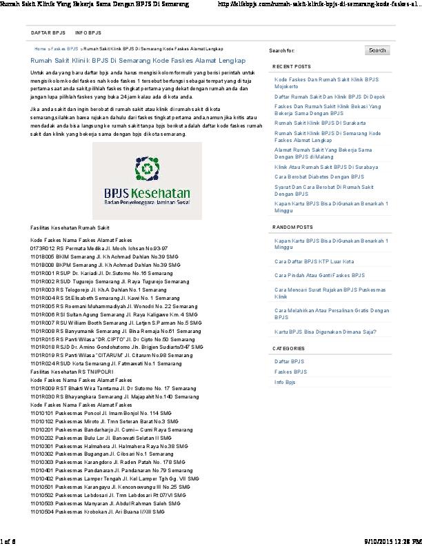Pdf Rumah Sakit Klinik Bpjs Di Semarang Kode Faskes Alamat