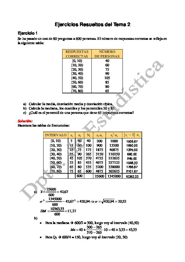 Ejercicios resueltos de estadística moda mediana y media pdf