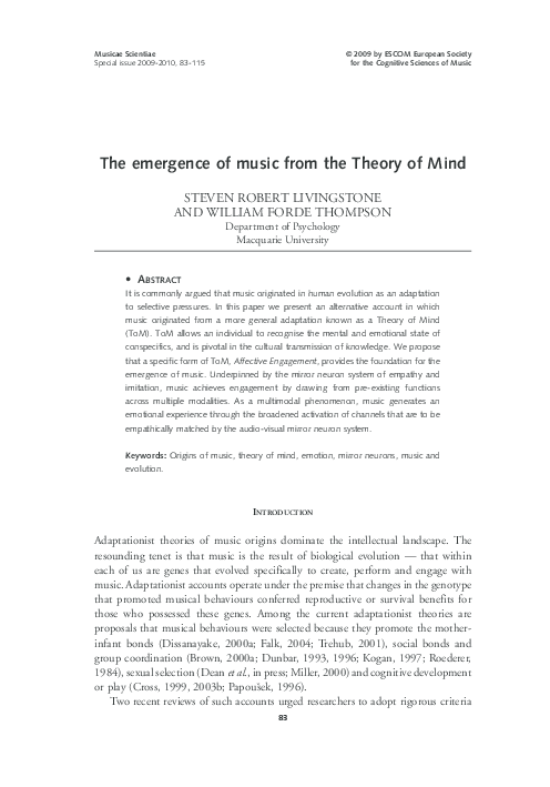 PDF) The emergence of music from the Theory of Mind | Steven R