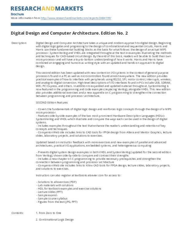 Pdf Digital Design And Computer Architecture Edition No 2 Josh Nissan Academia Edu