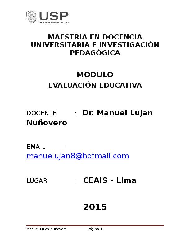 Doc Modulo De Evaluacion Educativa Alejandro Barragan