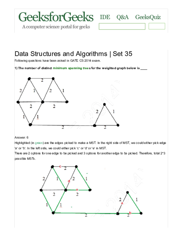 PDF) Data Structures and Algorithms Set 35 - Geeksfor Geeks