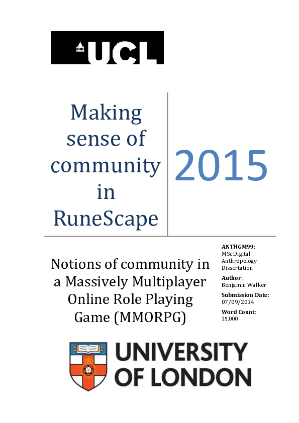 PDF) Making sense of community in RuneScape: Notions of