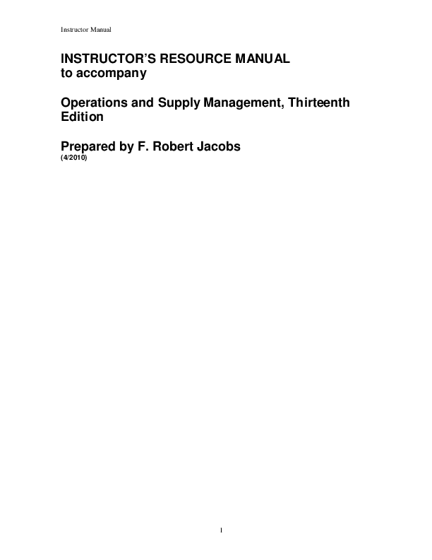 Instructor Resource Manual For Operations And Supply Chain