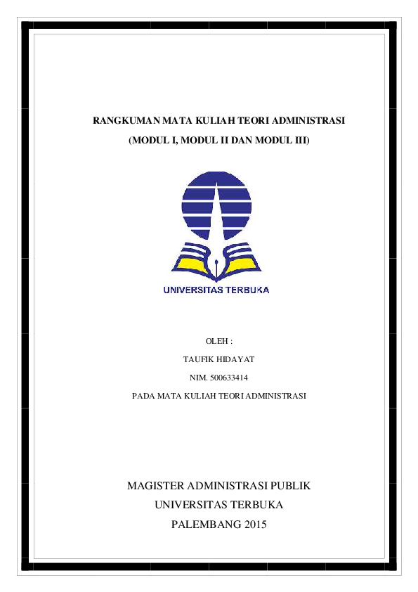 (PDF) RANGKUMAN MATA KULIAH TEORI ADMINISTRASI (MODUL I