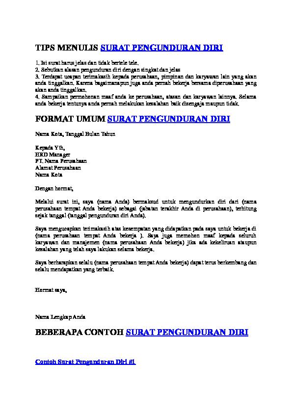 Doc Tips Menulis Surat Pengunduran Diri Format Umum Surat