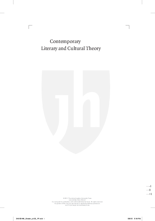 Contemporary Literary And Cultural Theory The Johns Hopkins Guide