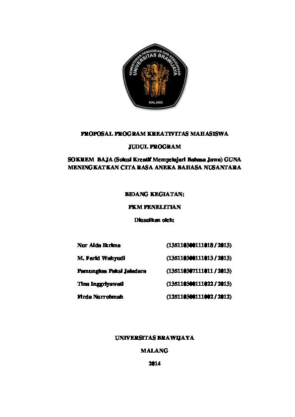 Pdf Proposal Pkm P Soshum Pendanaan Dikti 2015 Sokrem Baja Solusi Kreatif Mempelajari Bahasa Jawa Guna Meningkatkan Cita Rasa Aneka Bahasa Nusantara Firda Swan And Aida Ikrima Academia Edu