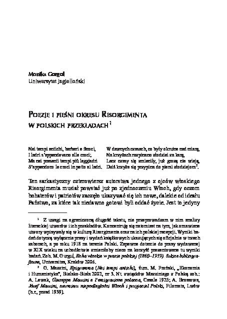 Pdf Monika Gurgul Poezje I Pieśni Okresu Risorgimenta W