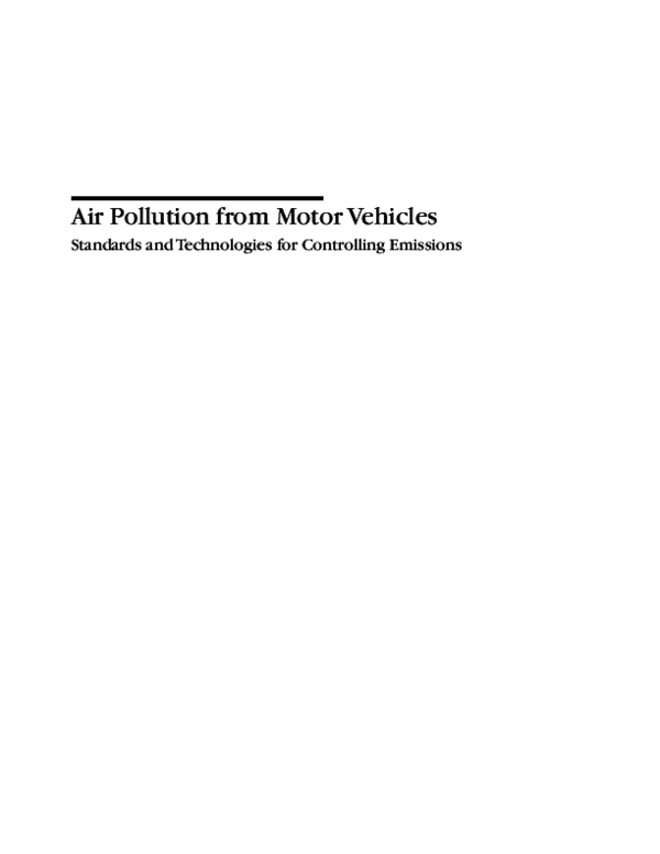 Pdf Air Pollution From Motor Vehicles Standards And