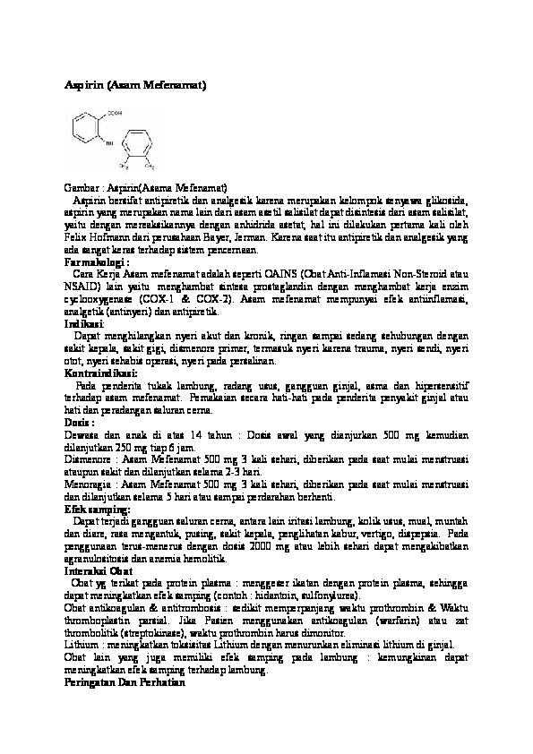 (DOC) Aspirin (Asam Mefenamat | Rahajeng HRS - Academia.edu