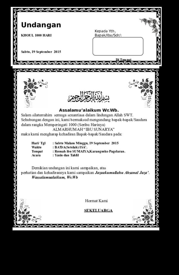 Doc Contoh Undangan Tahlilan Karim Al Kholil Academia Edu
