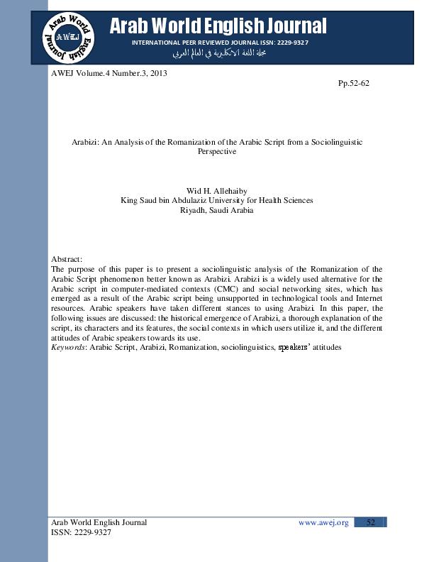 PDF) Arabizi: An Analysis of the Romanization of the Arabic Script