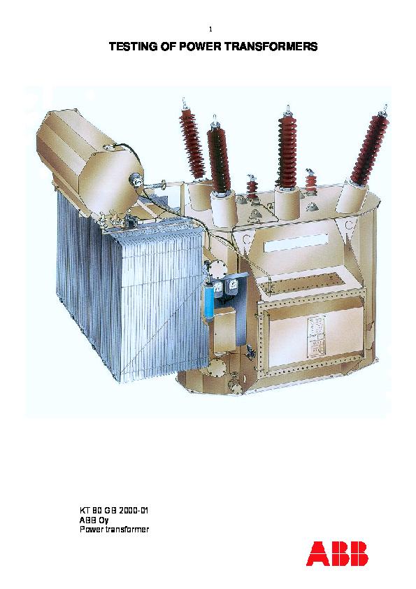 PDF) TESTING OF POWER TRANSFORMERS KT 80 GB 2000-01 ABB Oy