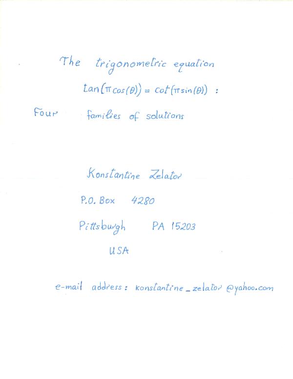 PDF) The trigonometric equation tan[ pi (cos(theta))] = cot