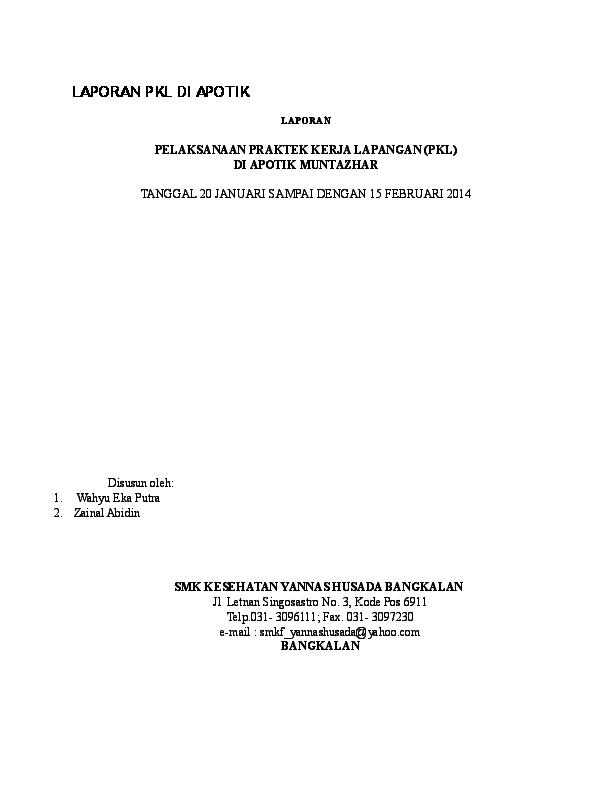 Doc Laporan Pkl Di Apotik Muhammad Erza Academiaedu