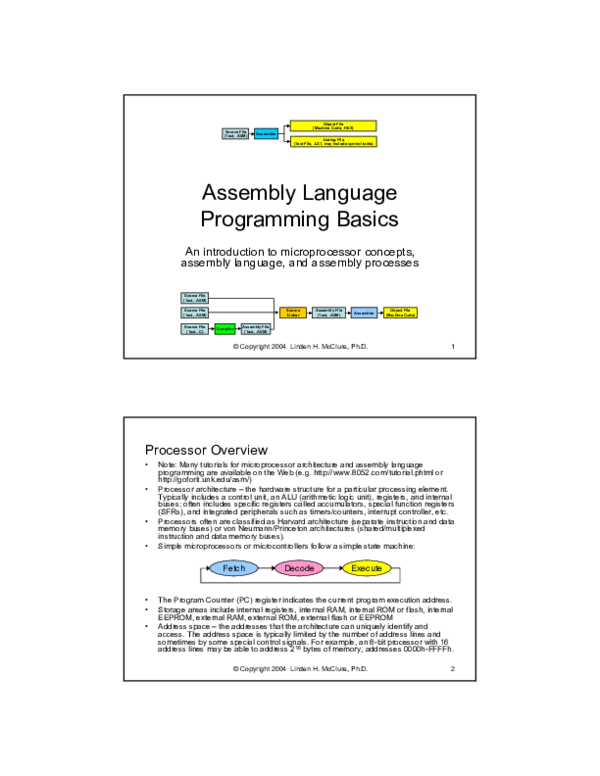 PDF) Assembly Language Programming Basics An introduction to