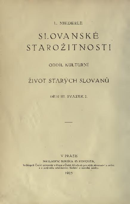 PDF) Lubomír Niederle : Život starých Slovanů Díl 3 svazek 2