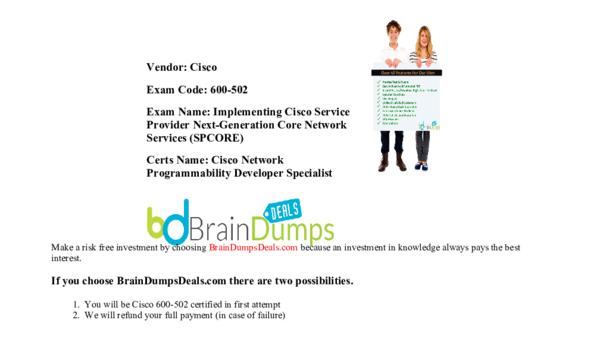 PDF) Cisco 600-502 NPDEV Network Application Developer Specialist