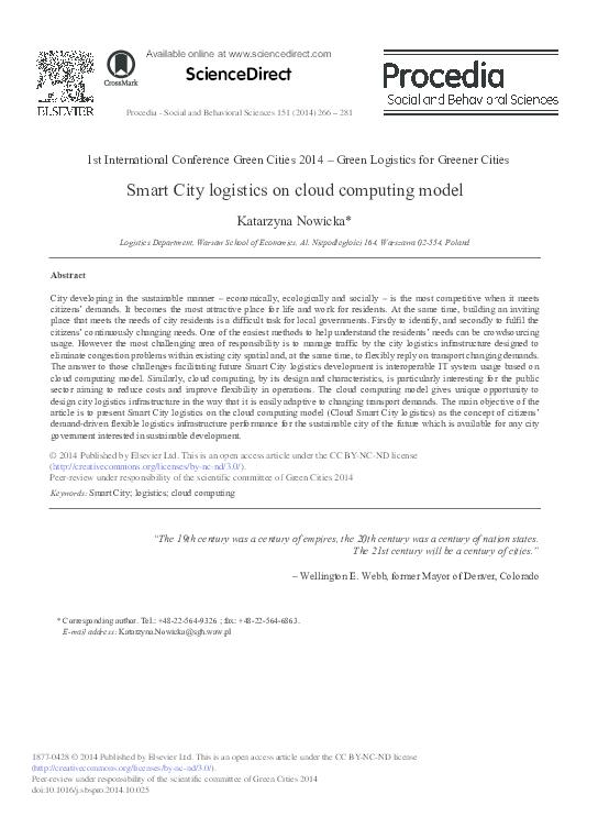 PDF) Smart City Logistics on Cloud Computing Model