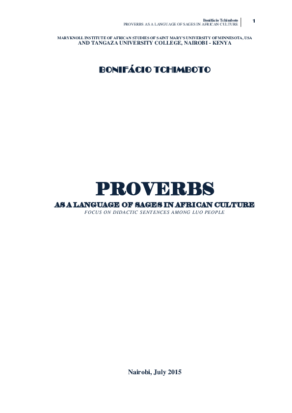 Pdf african proverbs