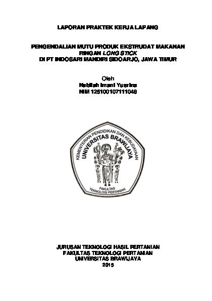 Pdf Laporan Praktek Kerja Lapang Pengendalian Mutu Long Stick Nabila Imani Academia Edu