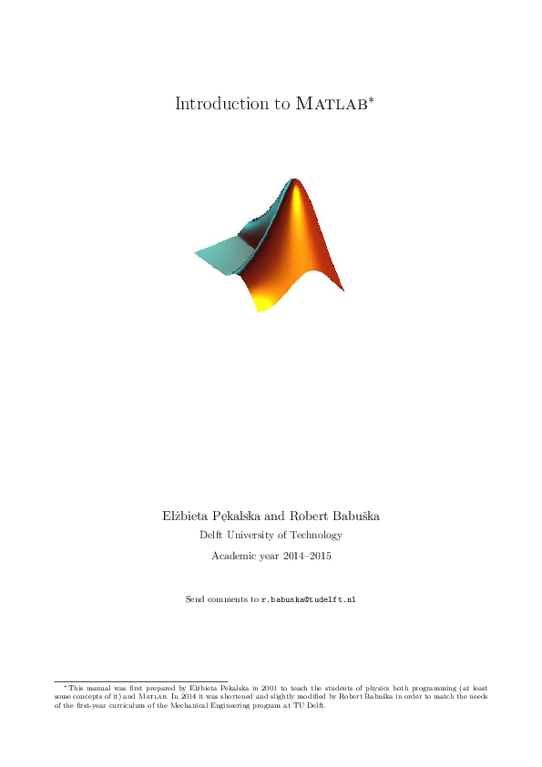 PDF) Introduction to Matlab | Jens Zuurbier - Academia edu