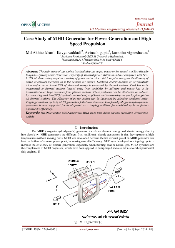 PDF) Case Study of MHD Generator for Power Generation and
