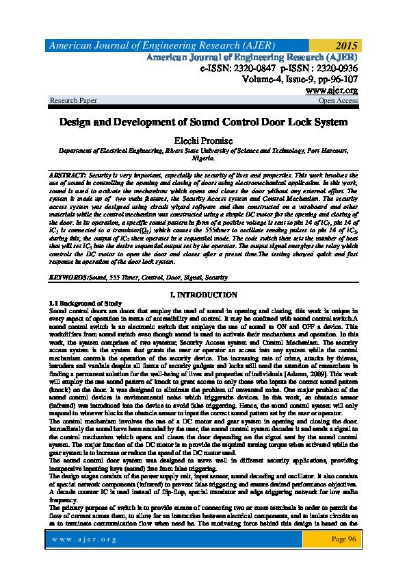 PDF) Design and Development of Sound Control Door Lock