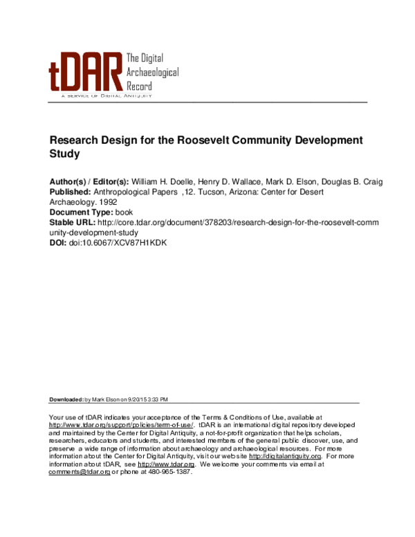 PDF) Research Design for the Roosevelt Community Development