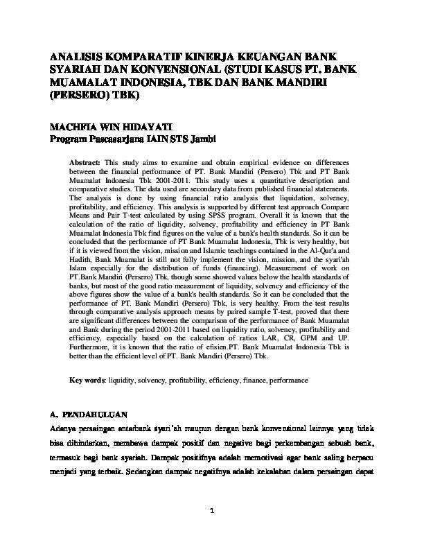 Pdf Analisis Komparatif Kinerja Keuangan Bank Syariah Dan Konvensional Studi Kasus Pt Bank Muamalat Indonesia Tbk Dan Bank Mandiri Persero Tbk Jurnal Innovatio Academia Edu