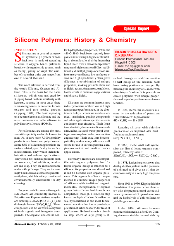 PDF) Special Report Silicone Polymers: History & Chemistry   Bilson