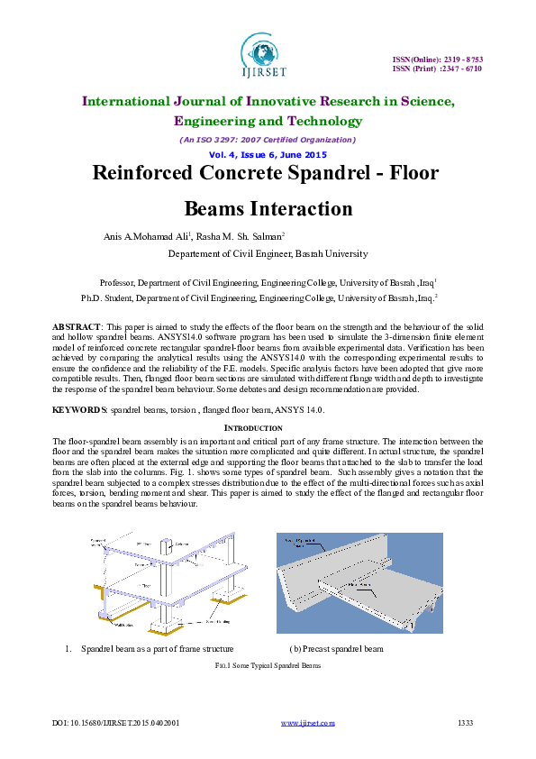 DOC) Reinforced Concrete Spandrel - Floor Beams Interaction