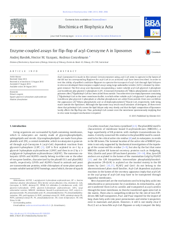 PDF) Enzyme-coupled assays for flip-flop of acyl-Coenzyme A