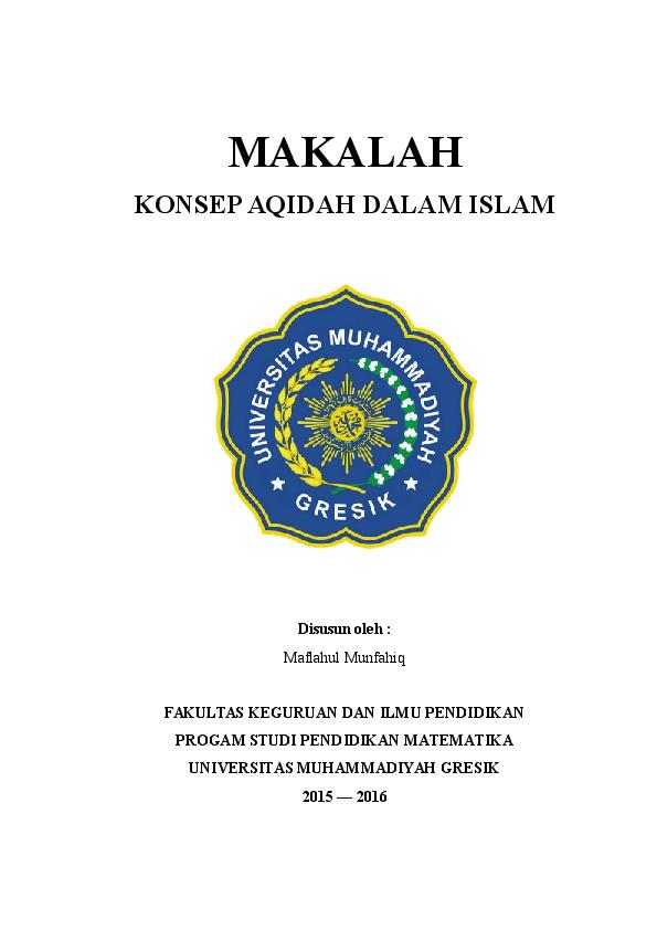 Doc Makalah Konsep Aqidah Dalam Islam Disusun Oleh Matematika Sore15 Academia Edu