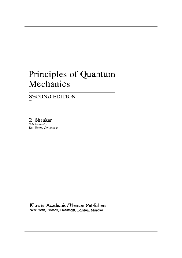 Principles Of Quantum Mechanics Shankar Pdf