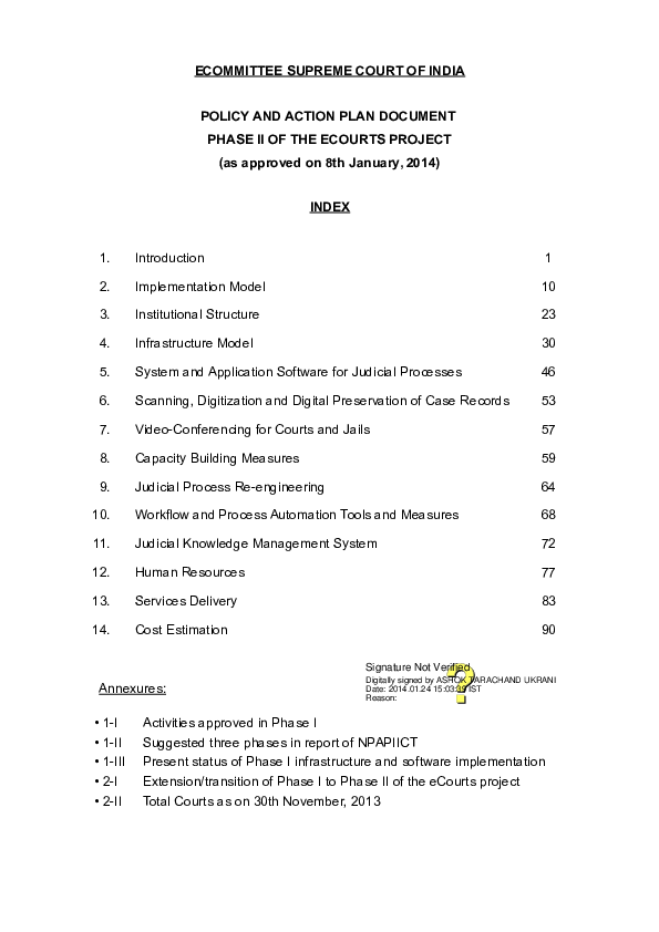 PDF) ECOMMITTEE SUPREME COURT OF INDIA POLICY AND ACTION