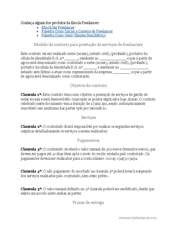Doc Exemplo De Modelo De Contrato Para Freelancers Erico
