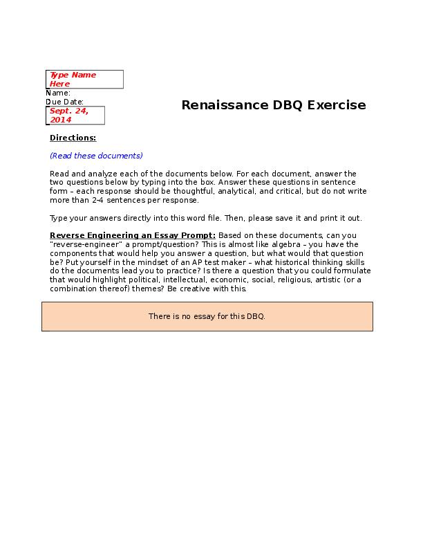 renaissance dbq