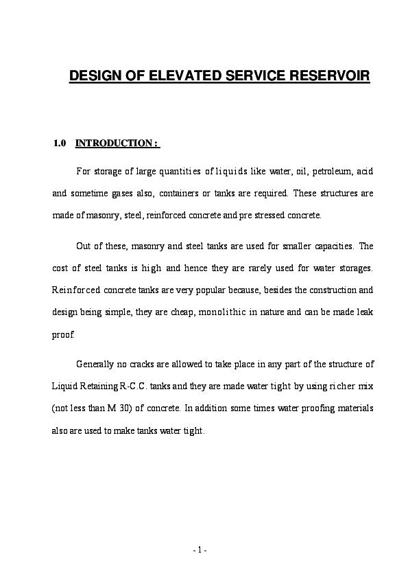 PDF) DESIGN OF ELEVATED SERVICE RESERVOIR | Arun N