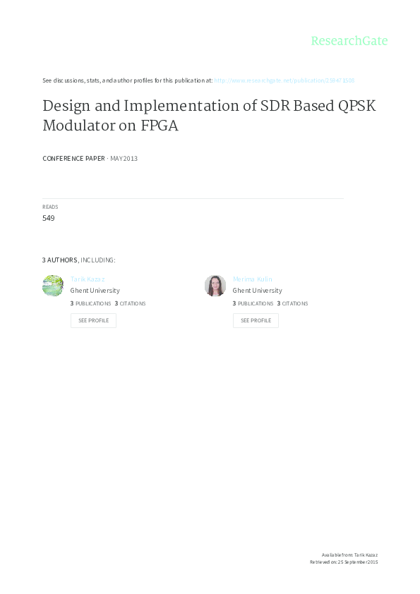 PDF) Design and Implementation of SDR Based QPSK Modulator on FPGA