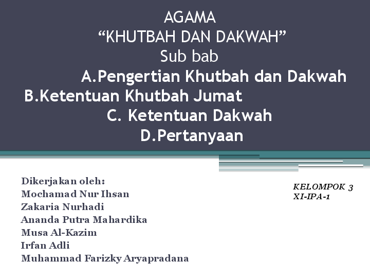 Ppt Agama Khutbah Dan Dakwah Mochamad Ihsan Academia Edu